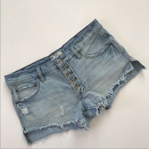 Free People Button Fly Shorts Distressed Cut Offs